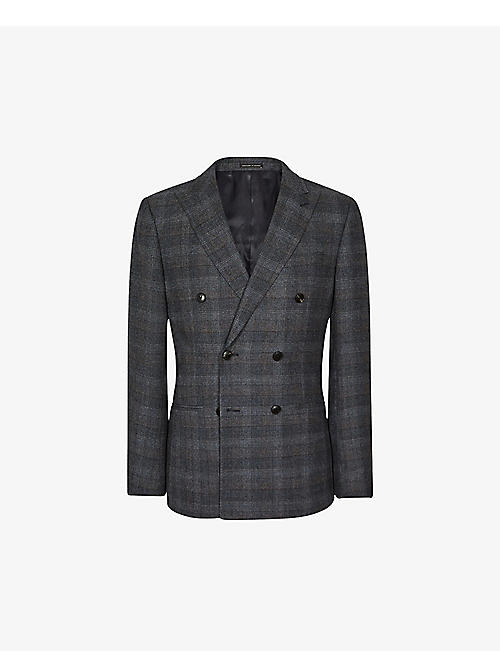 REISS: Dream double-breasted check wool-blend blazer
