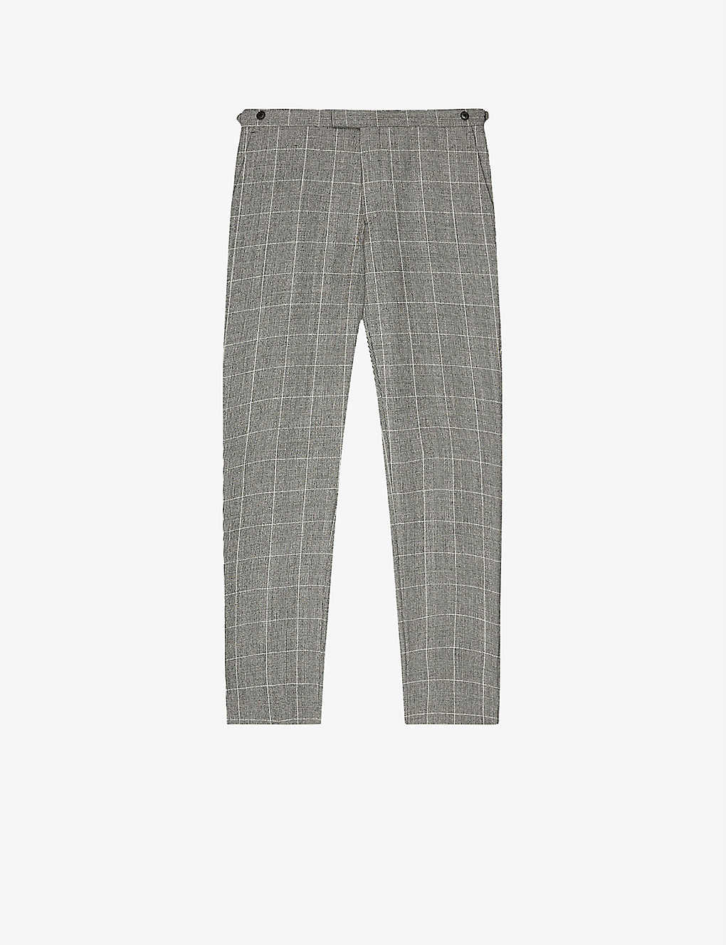 REISS: Hall Prince of Wales checked wool-blend tapered trousers