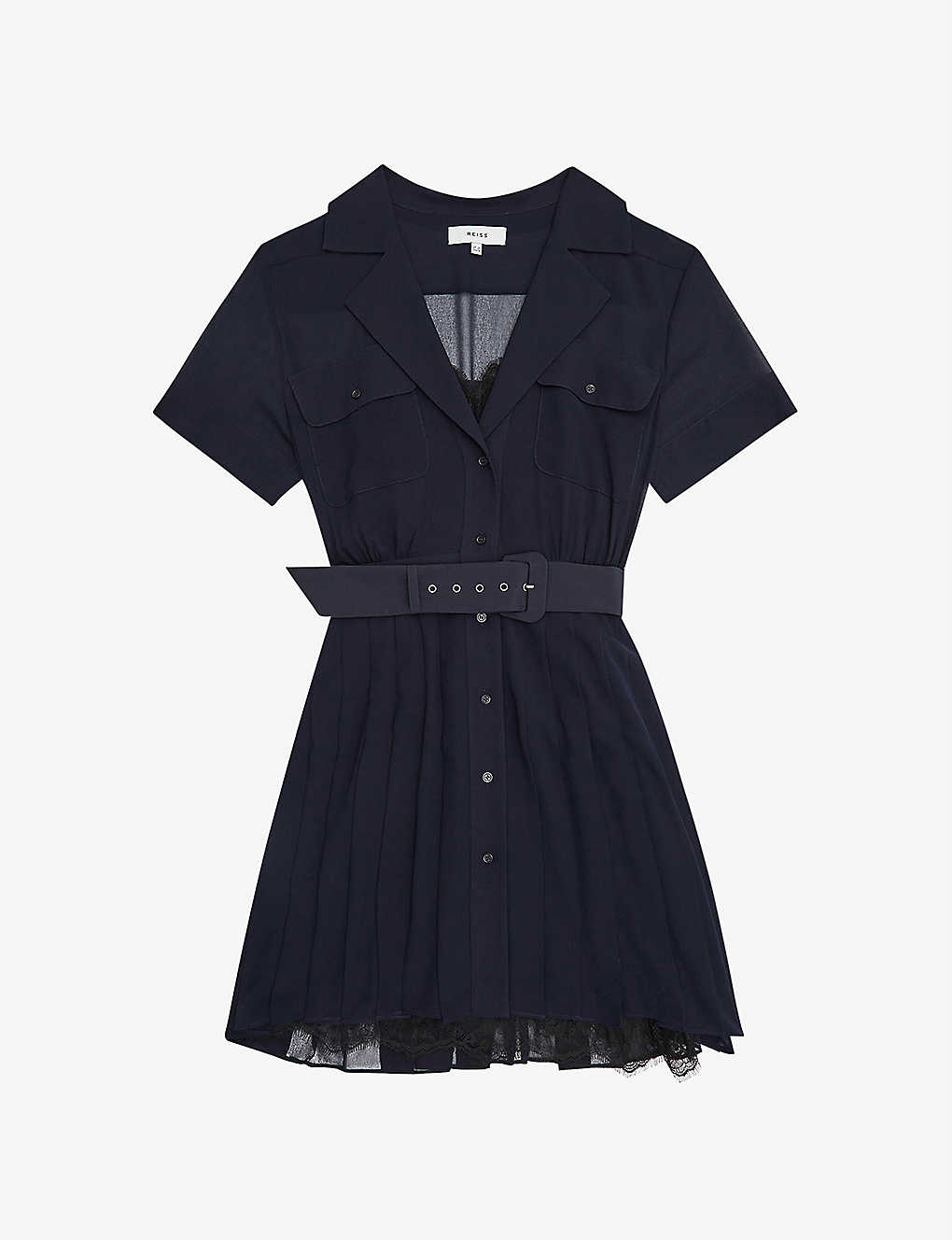 REISS: Fiona lace-detail crepe mini dress