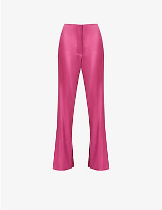 NANUSHKA: Tabbe flared high-rise satin trousers