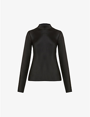 NANUSHKA: Eva funnel-neck satin top