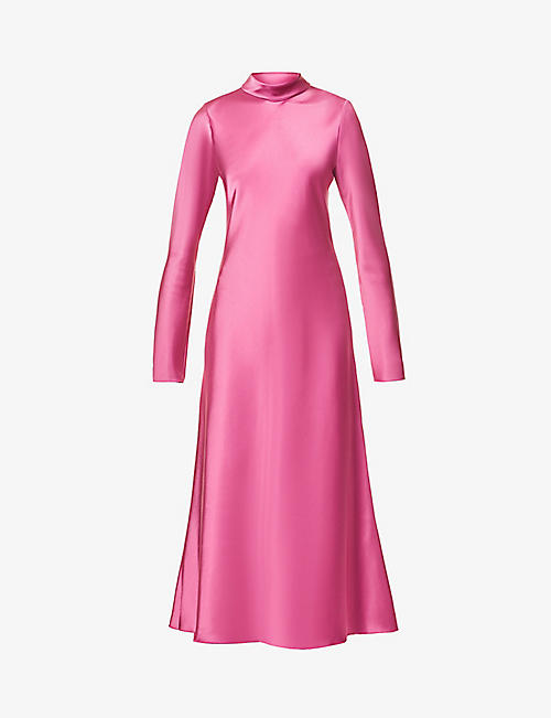NANUSHKA: Ashlee funnel-neck satin midi dress