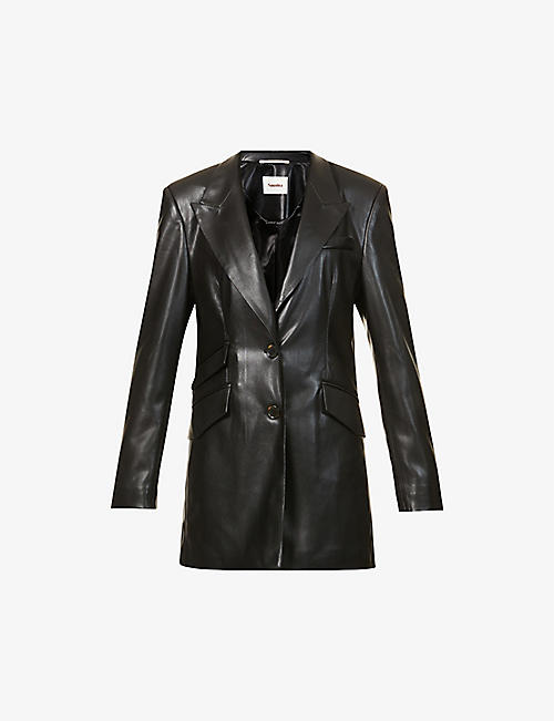 NANUSHKA: Cancun single-breasted vegan-leather blazer