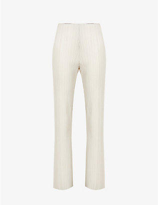 NANUSHKA: Char pleated slim-leg mid-rise vegan-leather trousers