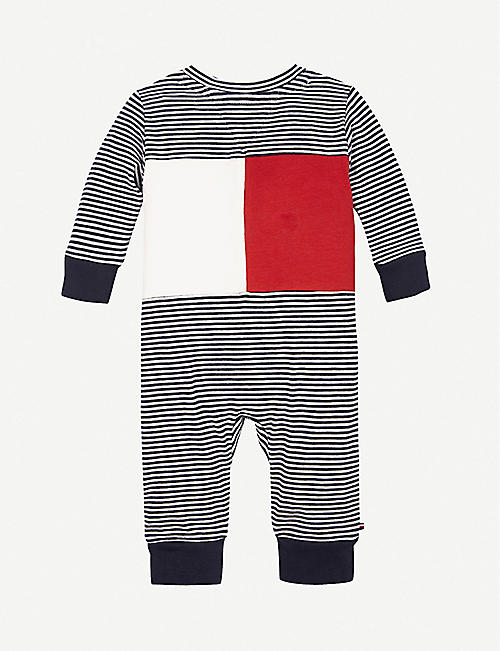 TOMMY HILFIGER: Striped stretch-cotton baby grow 0-12 months