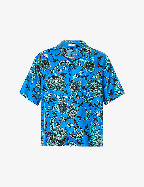 GIVENCHY: Floral-pattern silk-twill shirt