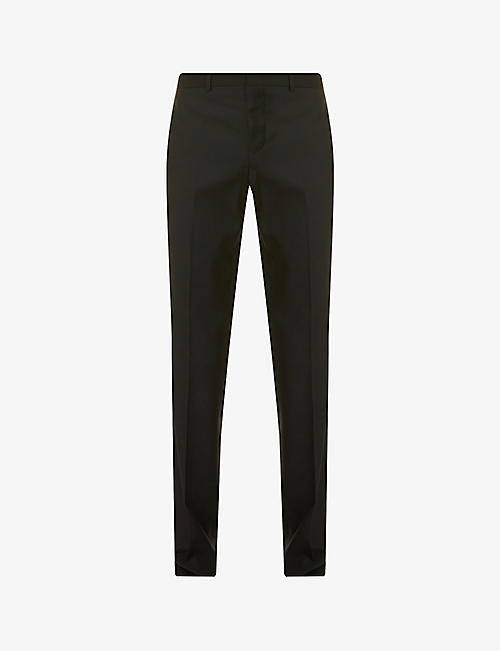 GIVENCHY: Brand-tape slim-leg wool trousers