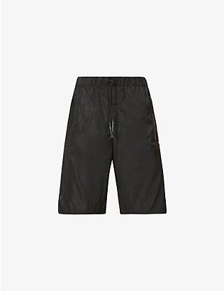 GIVENCHY: Brand-tape drawstring-waistband shell shorts