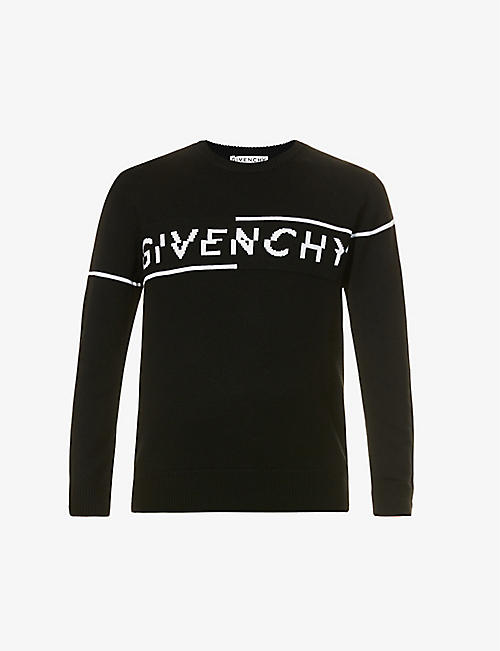 GIVENCHY: Brand-pattern crewneck wool jumper