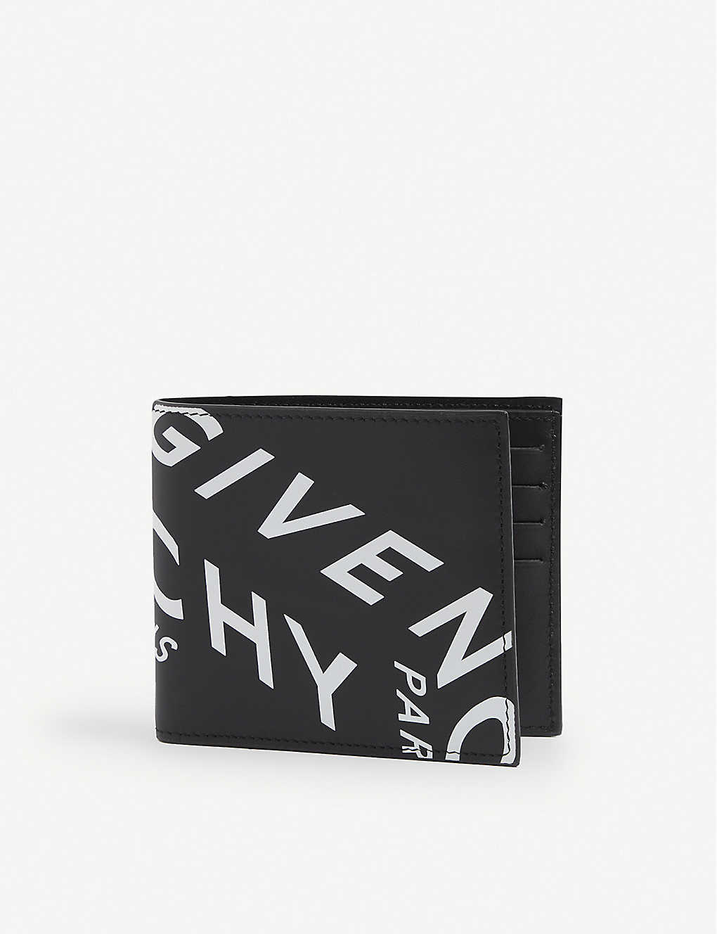 GIVENCHY: Refracted logo-print leather bifold wallet