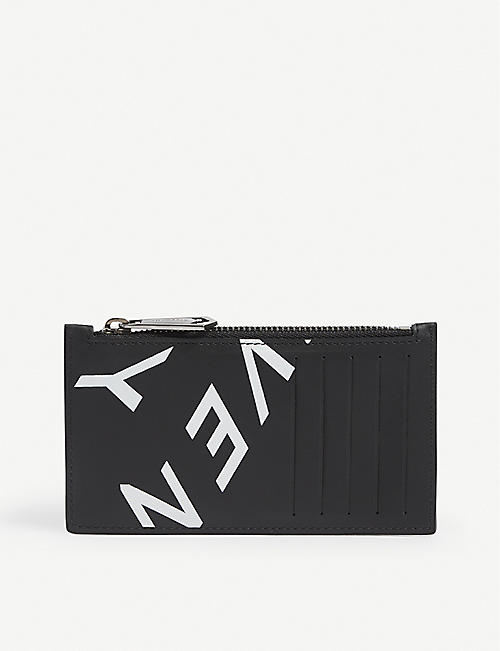 GIVENCHY: Refracted logo-print leather cardholder wallet