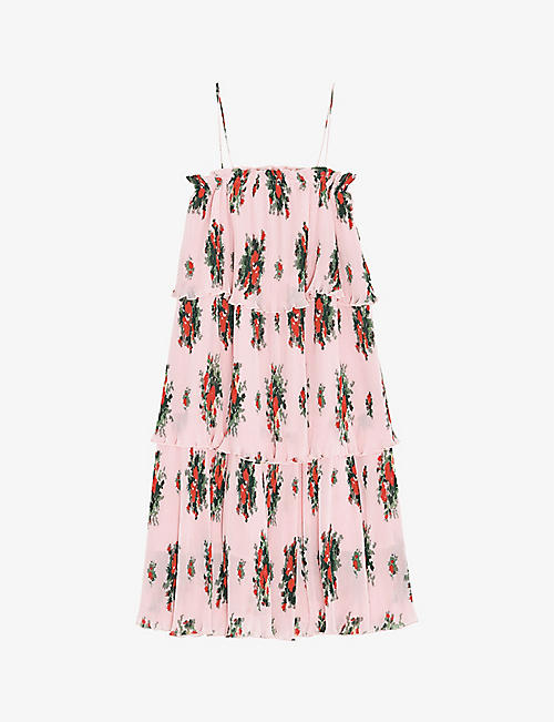 GANNI: Floral-print recycled-polyester georgette mini dress