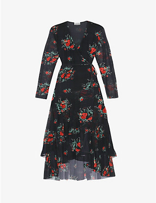GANNI: Floral-print wrap-over mesh midi dress