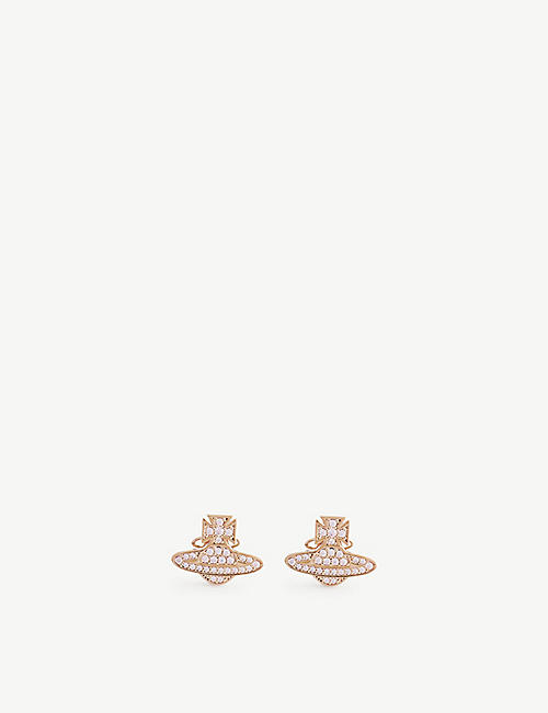 VIVIENNE WESTWOOD JEWELLERY: Romina pink gold-toned brass crystal earrings
