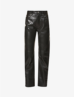 NANUSHKA: Vinni straight-leg high-rise faux-leather trousers
