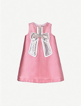 HUCKLEBONES: Gilded bow satin shift dress 4-12 years