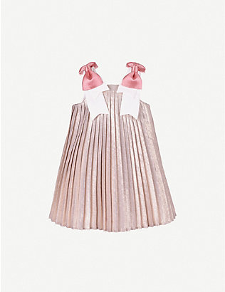 HUCKLEBONES: Pleated metallic crepe trapeze dress 4-12 years
