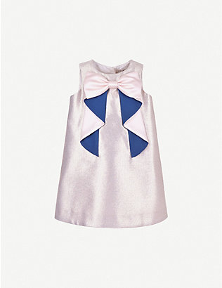 HUCKLEBONES: Origami-bow crepe shift dress 4-12 years