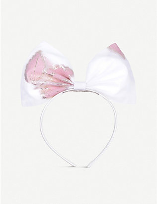 HUCKLEBONES: Kids floral-print metallic bow headband