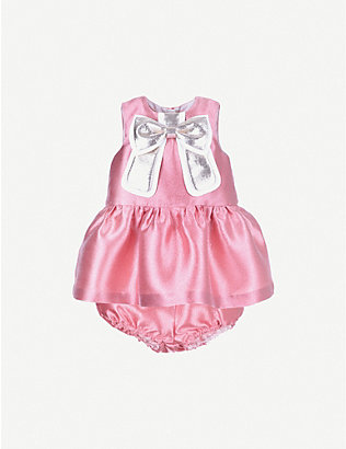 HUCKLEBONES: Gilded bow satin shift dress 6-36 months