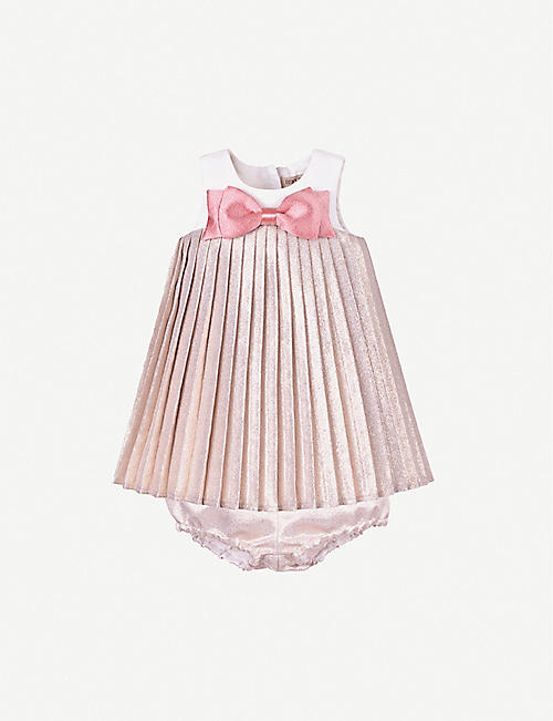 HUCKLEBONES: Pleated metallic crepe trapeze dress 6-36 months