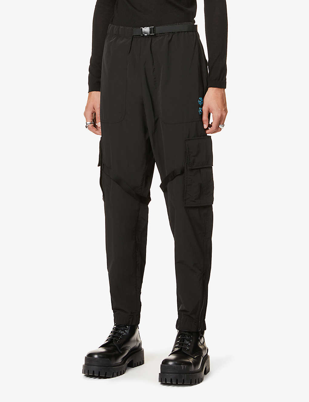 OFF-WHITE C/O VIRGIL ABLOH: Tapered logo-print cotton and shell-blend cargo trousers