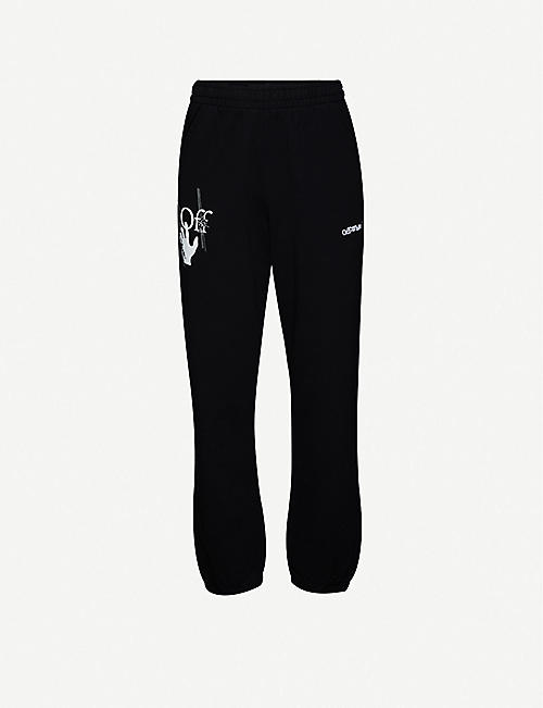 OFF-WHITE C/O VIRGIL ABLOH: Graphic-print cotton-jersey jogging bottoms
