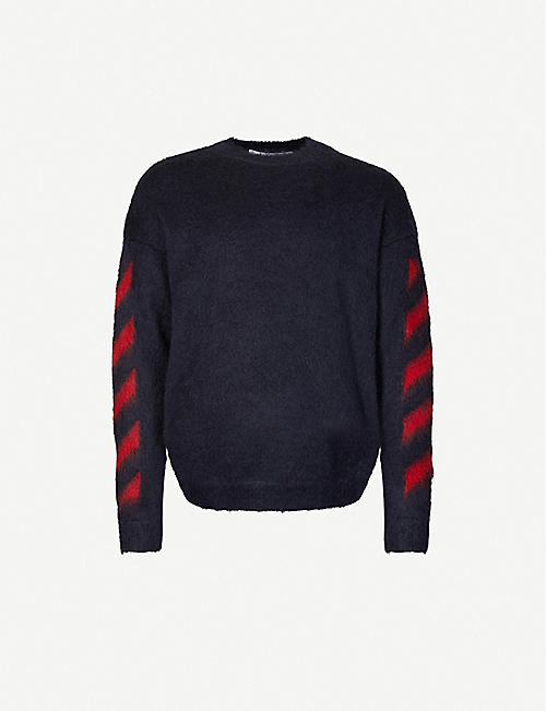 OFF-WHITE C/O VIRGIL ABLOH: Diagonal-pattern crewneck mohair-blend jumper
