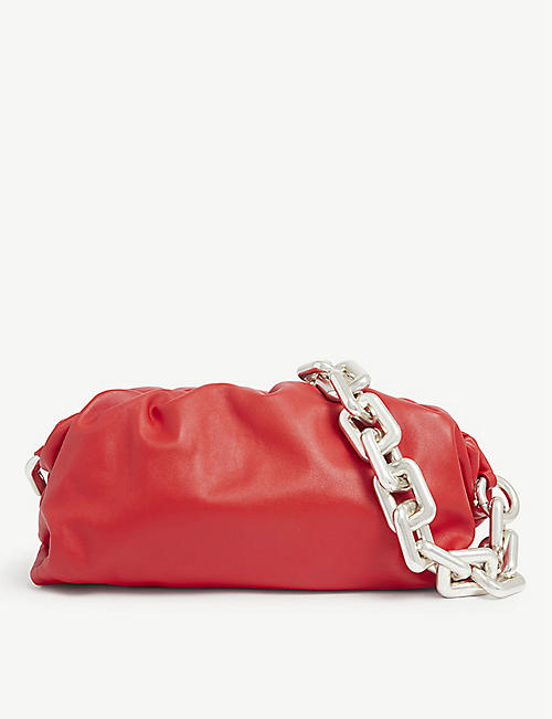 BOTTEGA VENETA: The Pouch chained leather clutch