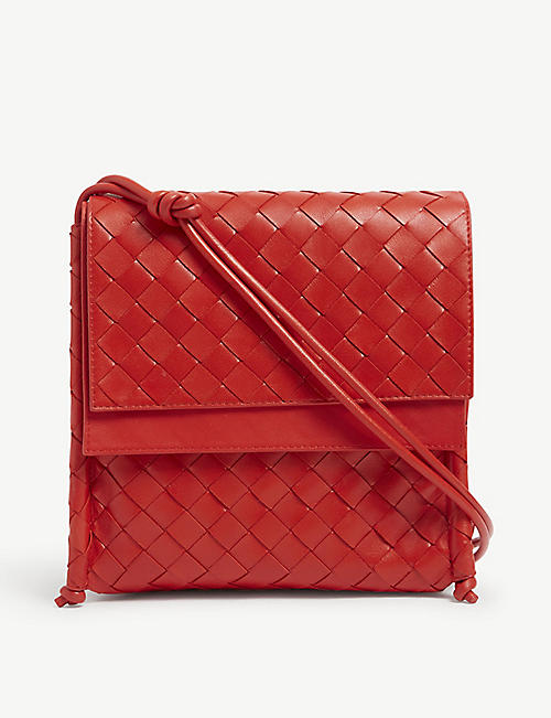BOTTEGA VENETA: Intrecciato-weave leather satchel bag