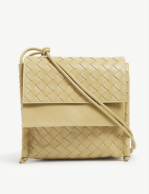 BOTTEGA VENETA: BV Fold small Intrecciato-weave leather satchel bag