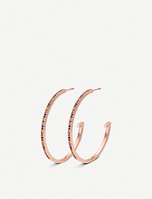 MONICA VINADER: Skinny 18ct rose-gold plated vermeil silver and gemstone hoop earrings