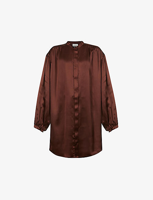 LE KASHA: Nara ruched silk shirt