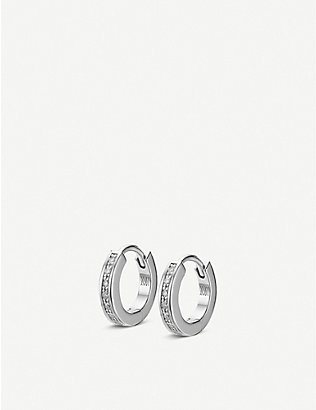 MONICA VINADER: Skinny sterling silver and diamond huggie earrings