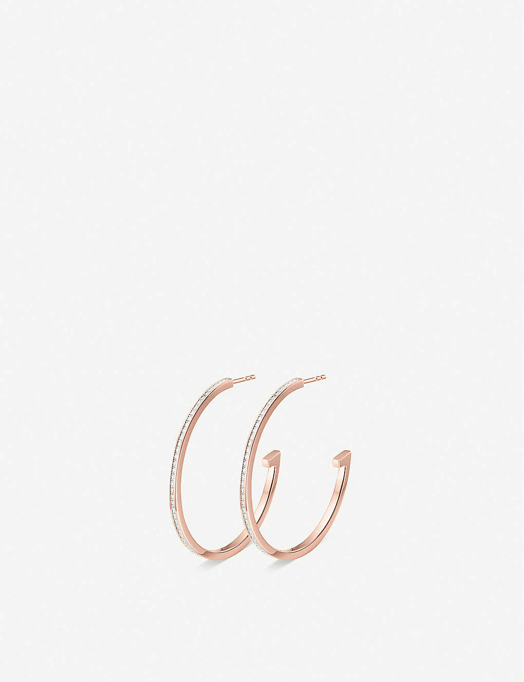 MONICA VINADER: Skinny 18ct rose-gold plated vermeil silver and diamond large hoop earrings