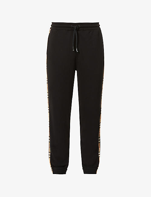 BURBERRY: Check-stripe cotton-jersey jogging bottoms