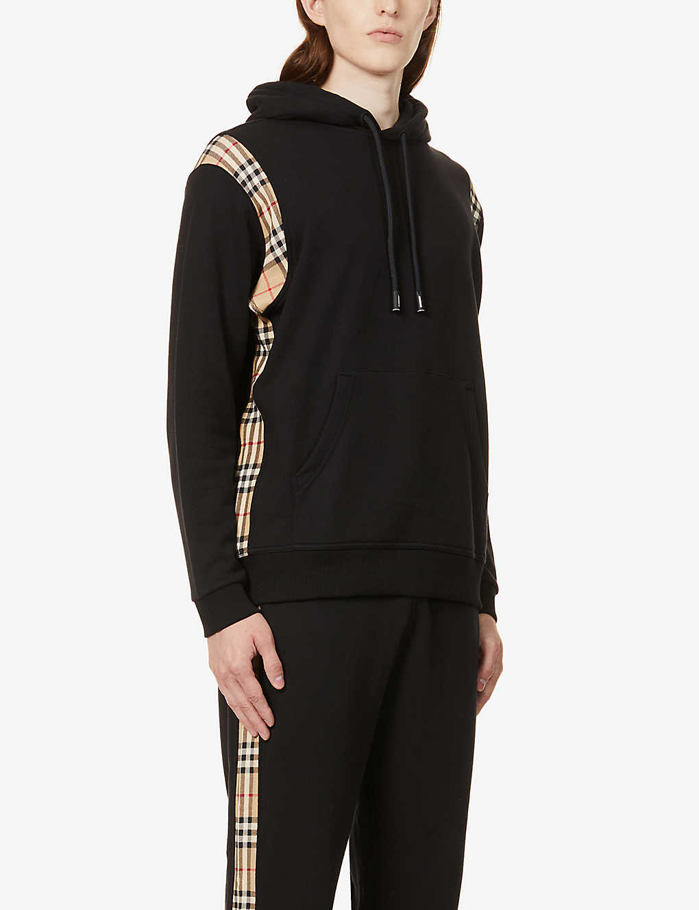 BURBERRY: Check-print cotton-jersey hoody