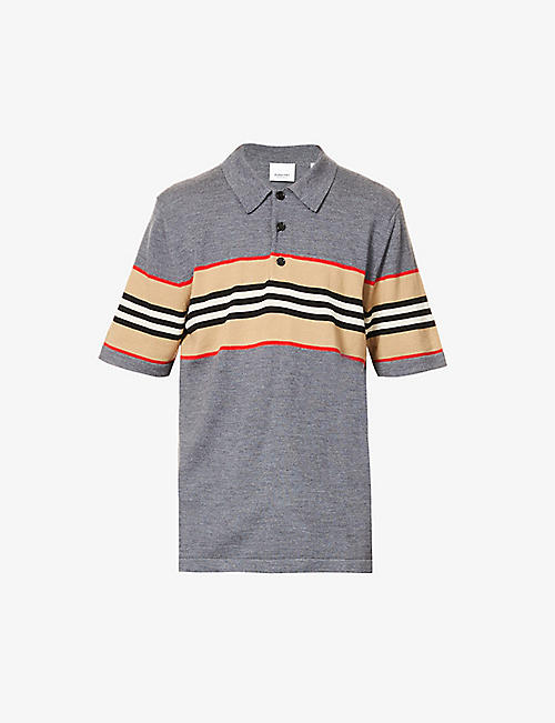 BURBERRY: Foxford striped merino wool polo shirt