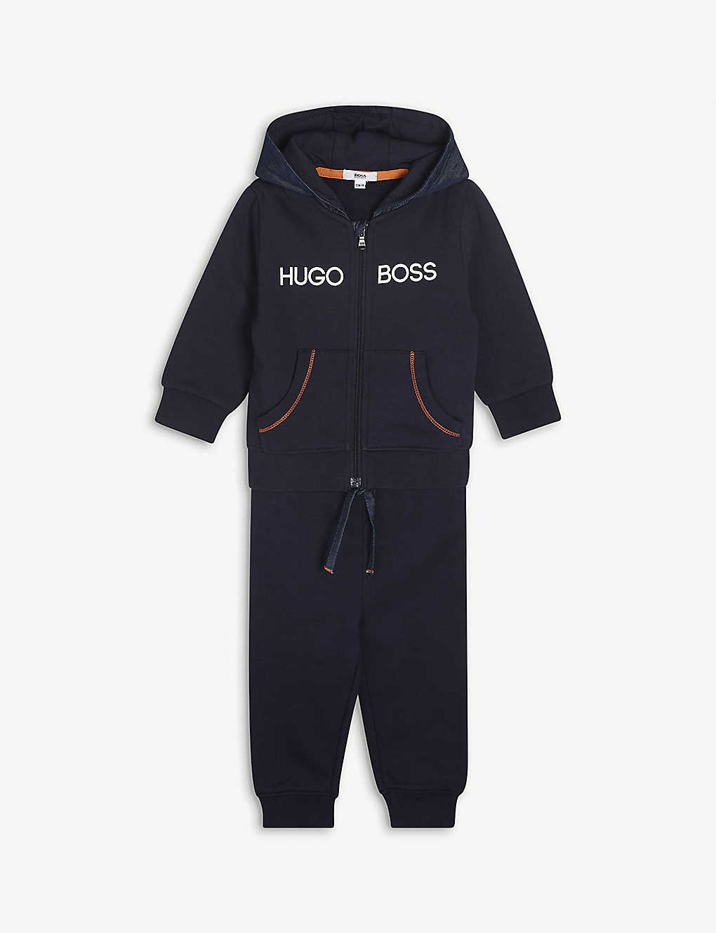 BOSS: Logo-print cotton-blend hoody, jogging bottoms and top set of three 3-18 months