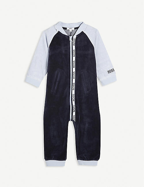 BOSS: Branded long-sleeved cotton babygrow 3-18 months