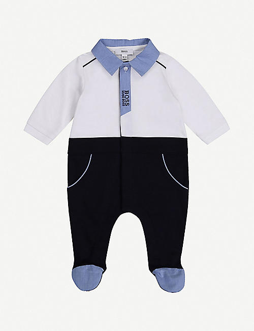 BOSS: Logo cotton-jersey baby-grow 3-18 months