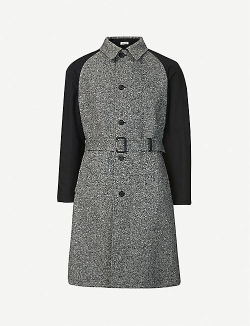 ALEXANDER MCQUEEN: Belted wool and cotton trench coat