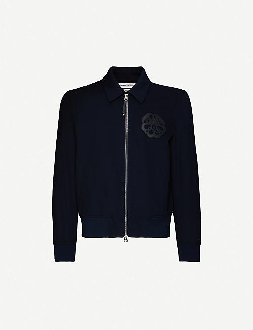 ALEXANDER MCQUEEN: Brand-patch zipped cotton-blend bomber jacket