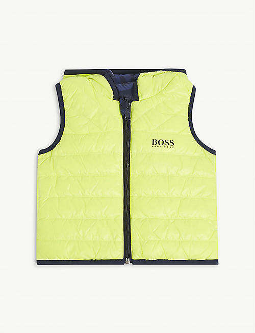 BOSS: Reversible logo-print shell-down gilet 6-36 months
