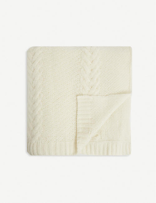 THE WHITE COMPANY: Bella cable-knit throw 140cm x 200cm