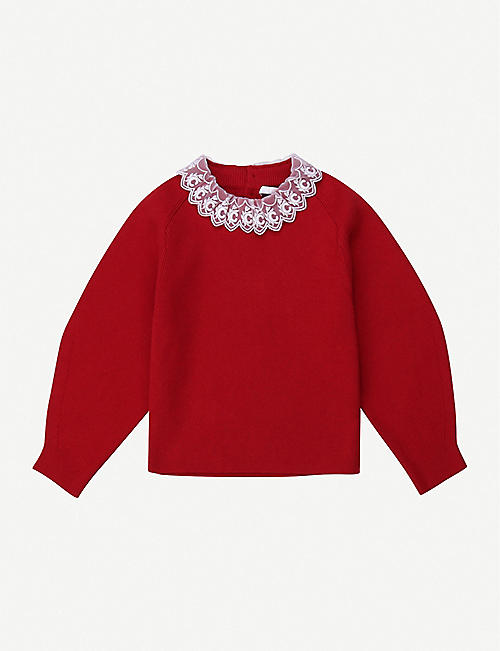 CHLOE: Ruffled-trim cotton-blend jumper 4-14 years