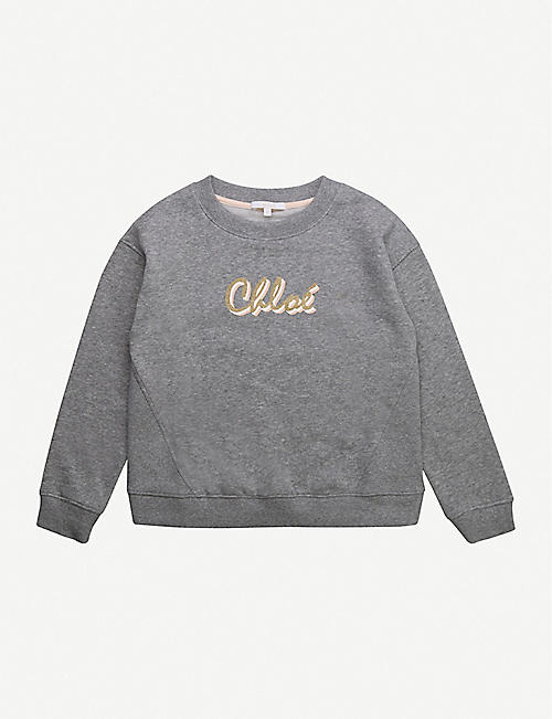 CHLOE: Script logo-print cotton-blend sweatshirt 4-14 years