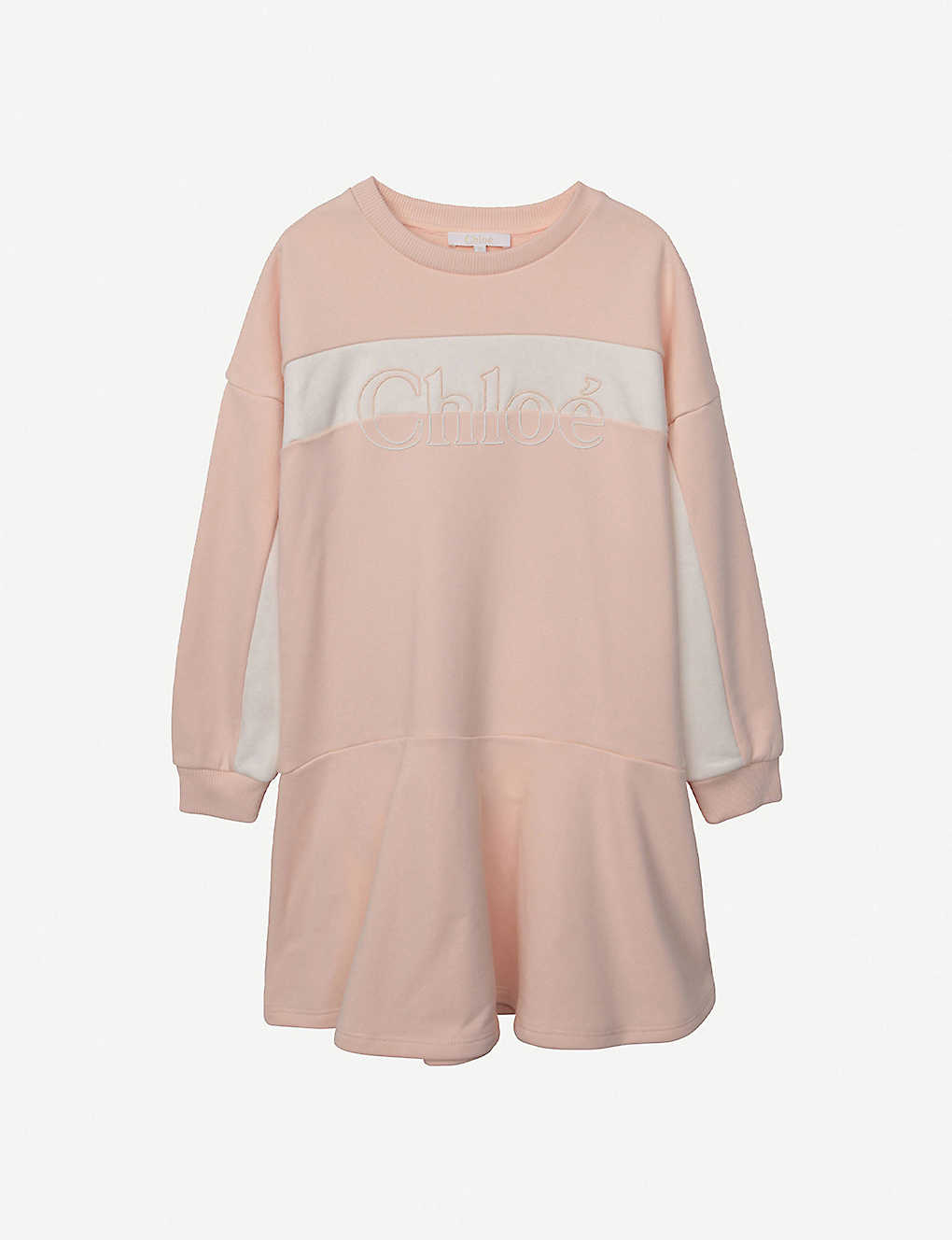 CHLOE: Logo-print colour-block cotton-blend mini dress 4-14 years