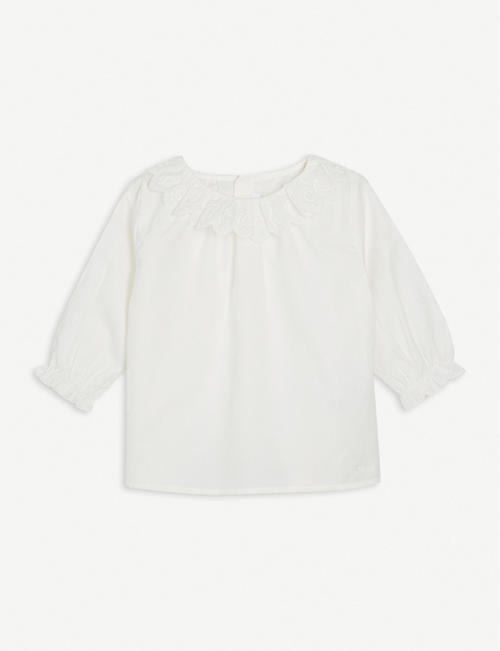 CHLOE: Long-sleeved cotton-twill blouse 6-36 months