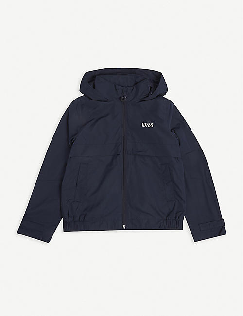 BOSS: Logo-print hooded woven jacket 4-16 years